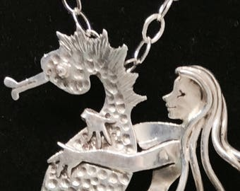 Sterling siver Seahorse neckace, seahorse jewelry , woman riding seahorse, nautical gifts, gifts for equestrians