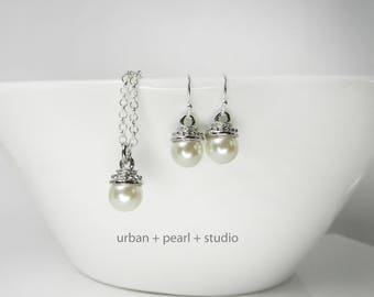 Bridesmaids Gift Pearl Necklace and Earrings Set Pearl Pendant With Silver Chain 18 Inch Necklace