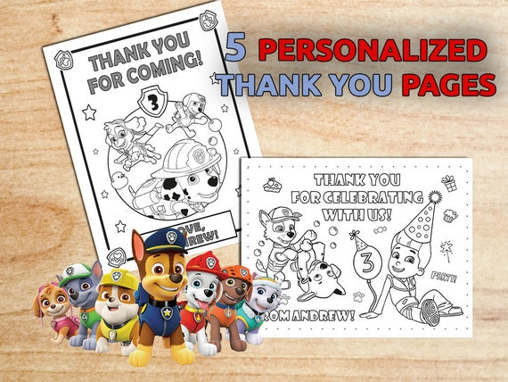 Paw Patrol THANK YOU Coloring pages