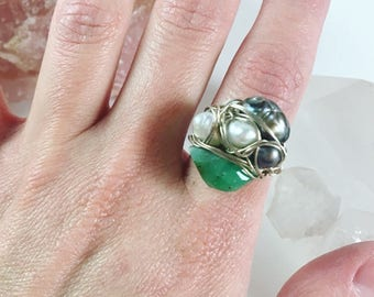 Wire Wrapped Multistone Statement Ring, Sterling Silver, Chrysoprase, Freshwater Pearls
