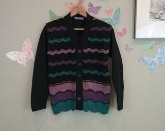 Vintage 90s retro chevron striped knit cardigan - purple and black