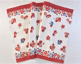 Vintage Tea Towel Red Kitchen Linens Dish Cloth Hand Towels Red White Fruit Flowers Vintage Linens Unused