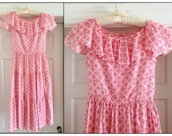 Vintage 1940s 50s Girl Teen Pink White Cotton Flutter Sleeve Dress Girl 10 12 Juniors XXS