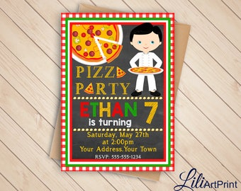 Pizza Party Birthday Invitation, Pizza Invite, Pizza Party Birthday Party, Digital file (1)