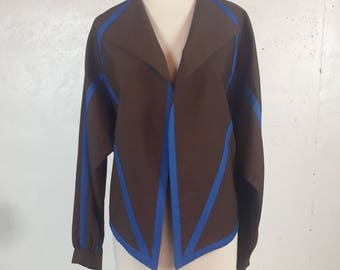Vintage 1980s  NR1 by Ned Gould Avant-garde Brown and Blue Jacket Lightweight Jacket