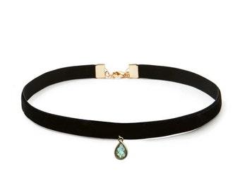 Black Velvet Labradorite Choker Necklace |