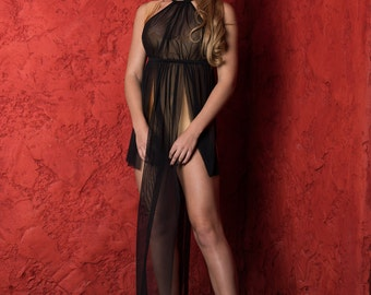 Sheer Lingerie - Lingerie Long Gown - Black Gown - Plus Size available