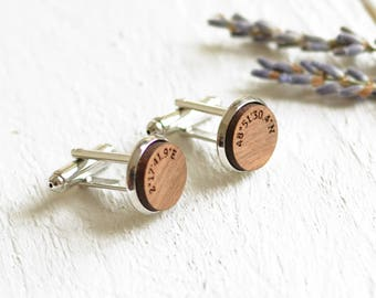 Coordinate Cufflinks 5th Anniversary Gift Wood Gift For Him Walnut Wood Cufflinks Custom Coordinates Personalised Cufflinks Gifts For Groom