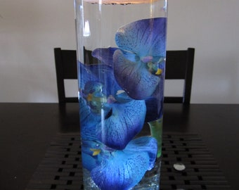 submersible blue floral glass  wedding centerpiece vase with candle