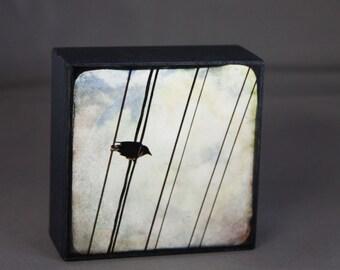 Sky Crow Photograph on Wood Panel--View Property--4x4 Fine Art