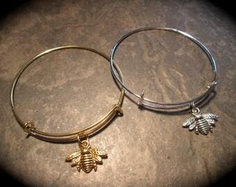 Bee bracelet in gold or silver adjustable bangle bracelet