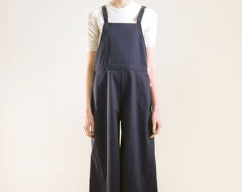 Navy Wide Leg Retro 70s 90s Overalls, Chic Vintage Casual Loose Fitting Overalls