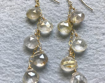 Dangle Earrings, Gold Quartz Earrings, Long Gold Dangle Earrings,Gold Dangle Earrings,Celeste Lauren