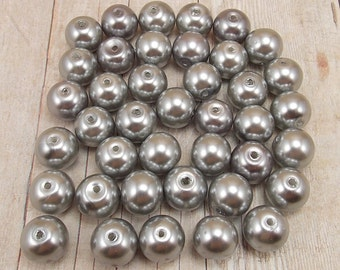 10mm Glass Pearls - Medium Gray - 40 pieces - Dark Silver - Medium Grey