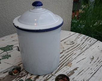 Vintage enamel pot, enamel tea pot, enamel coffee container