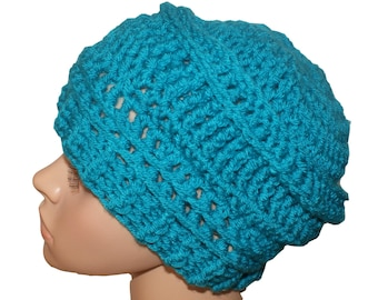 Blue Kids Hat, Childs Cloche, Kids Beanie, Blue Crochet Hat, Childs Winter Hat, Kids Slouch Hat, Childs Slouch Beanie, Blue Winter Hat