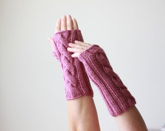 Cable knit wrist warmers &  arm warmers womens, Winter half finger gloves, Wool hand warmer,
