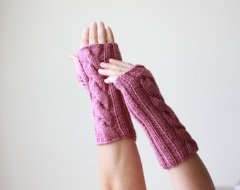 Cable knit arm warmers & wrist warmers