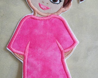 Little Girl Iron On or Sew On Embroidered Applique