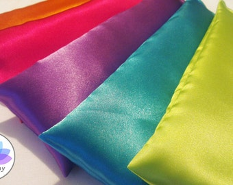 DELUXE Satin Silky Yoga Eye Pillow with Lavender - Color Options: Pink, Green, Blue, Purple, Orange