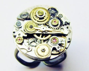 Steampunk Embellished Vintage Watch Movement Ring, Steampunk Ring, Steampunk Watch Ring, Watch Movement Ring, RG4