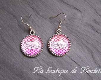 Cabochon image earrings complainer on white polka dots pink