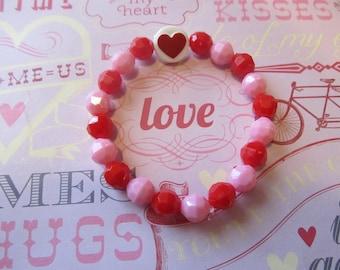 Heart Valentine Beaded Bracelet- Kids Bracelets- Heart Bracelet- Valentine Gifts- Gifts for Her- Gifts for Girls- Girls Bracelets