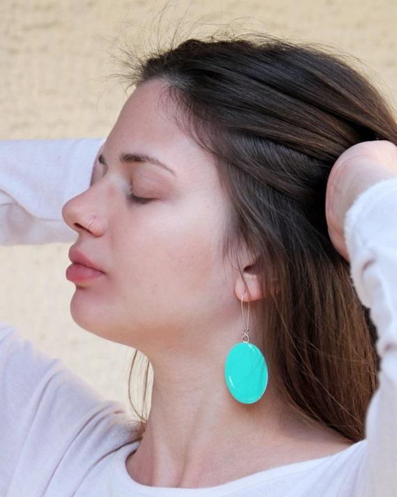 Mint green earrings, statement earrings, light green resin earrings, modern minimalist, neon pop color block jewelry, big oval lightweight