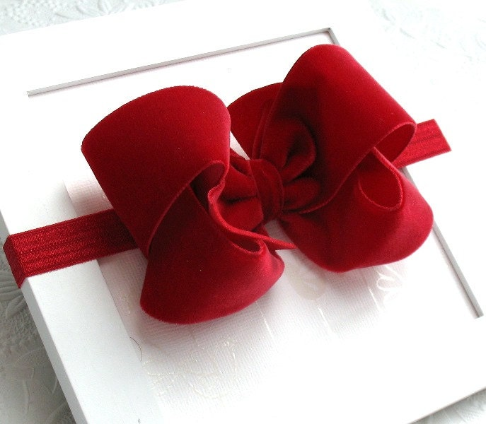 velvet christmas hair bow headband for velvet bow