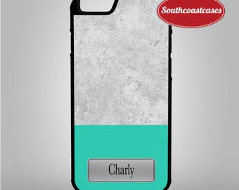 Custom Personalised Sea Green Vs Concrete Name/Initial iPhone Rubber TPU Phone Case Cover For iPhone 4/4s, 5c, 5/5s/Se, 6/6, 7, 8 and X