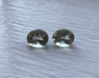5.5 cttw Matched Pair Oval Cut Prasiolite or Green Amethyst (5.75mm x 8mm x 10mm)