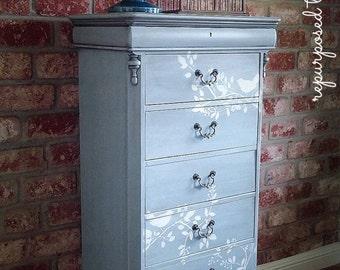 SOLD SOLD!! Tall dresser, beachy dresser, 6 drawer dresser, shabby chic dresser, stenciled dresser, handpainted  dresser, painted dresser