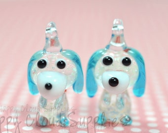 Glow-in-the-Dark Dog Lampwork Glass Charms ... 2pcs