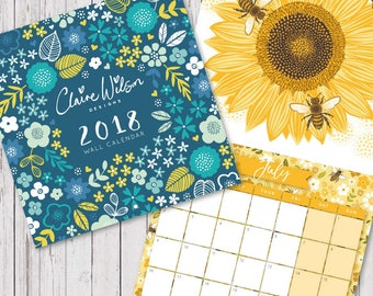 SALE! 2018 Wall Calendar - 200mm x 200mm - Appointment Calendar, Illustrated Calendar