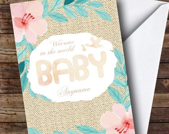 Personalised Vintage Floral Stork New Baby Card