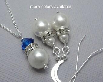 Blue Jewelry Set, Blue Necklace, Blue Earrings, Blue Wedding Jewelry, Blue Bridesmaid Necklace, Bridesmaid Jewelry Set, Blue Wedding