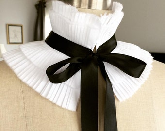 NEW Designer hand pleated collar/Can be worn two ways/High collar/Ruffled /Detachable collar/Black and White/Neck piece/