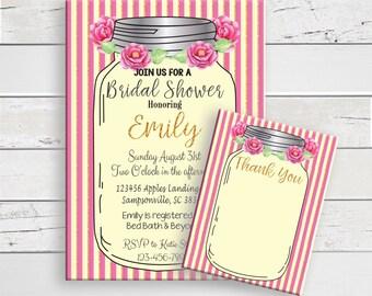 Bridal Shower Invitation, Thank You Card, Mason Jar, Pink, Gold, Stripes, Flowers, Couples Shower Invitation, Wedding Shower Invitation