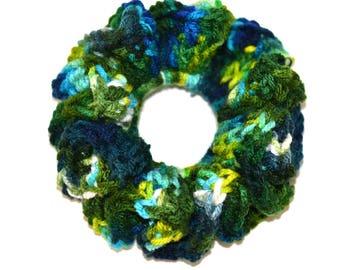 Green Crochet Hair Scrunchie , Crochet Hair Accessories , Crochet Hair bands , Hair Ties , Hair Scrunchies , Pony Tail Holder, Hair Ties