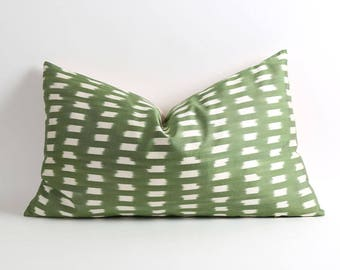 Silk ikat pillow cover Green and white pillow 16x26 inch