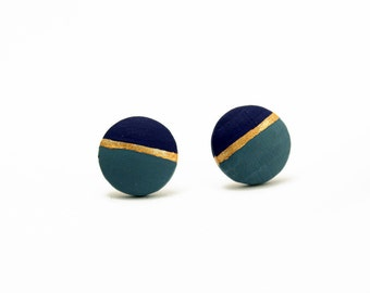 Geomeric Kreis Stud Ohrringe - grau blau, dunkel blau, gold - minimalistisch, modern handbemalter Holz Schmuck