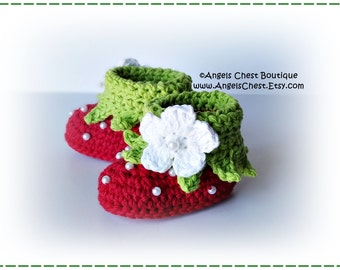 PDF Crochet Pattern No. 65 Baby Booties Strawberry - Cuffed Boy Booties - Slippers  Sizes Newborn to 24 months by AngelsChest