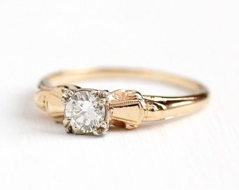 Sale - Vintage Diamond Ring - 14k Rosy Yellow Gold 1/3 Carat Solitaire - Size 7 Two Tone 1940s Engagement Wedding Fine Bridal Jewelry