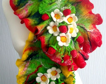 Hand Felted, Wool Jewelry felted woman ART scarf-Strawberry Eden--