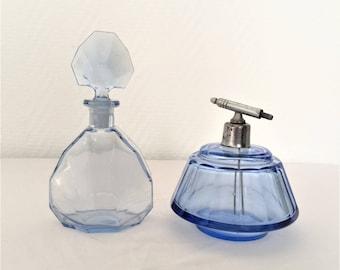 french vintage art deco blue glass perfume bottle