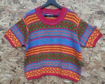 UNITED COLORS of BENETTON vintage 80s/90s United Colors of Benetton colourful halftop croptop knitwear tee