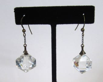 Vintage Art Deco Cut Glass Crystal Drop Earrings