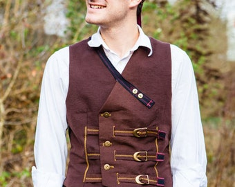 Hardwearing Double Breasted Brown Steampunk Neovictorian Waistcoat with Straps, Brass Buckle Fastening with Buttons- The Musketeer Waistcoat