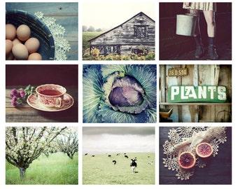 50% off - Print set, rustic wall art, country farmhouse decor, farm garden barn art, nine photographs