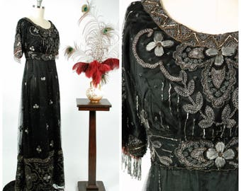Vintage Edwardian Dress - Exquisite Titanic Era Silk Dress with Beaded Net and Silver and Metallic Embroidery c. 1912